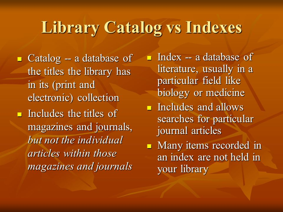 Science Citation Index/Web of Science For any given article, tracks both what other papers it cited, and what papers have cited it For any given article, tracks both what other papers it cited, and what papers have cited it Provides quick and powerful way to find a body of related literature Provides quick and powerful way to find a body of related literature Covers 3500 major journals across scientific/technical fields Covers 3500 major journals across scientific/technical fields Useful in cross-disciplinary fields (like cognition or biomedical engineering) Useful in cross-disciplinary fields (like cognition or biomedical engineering)