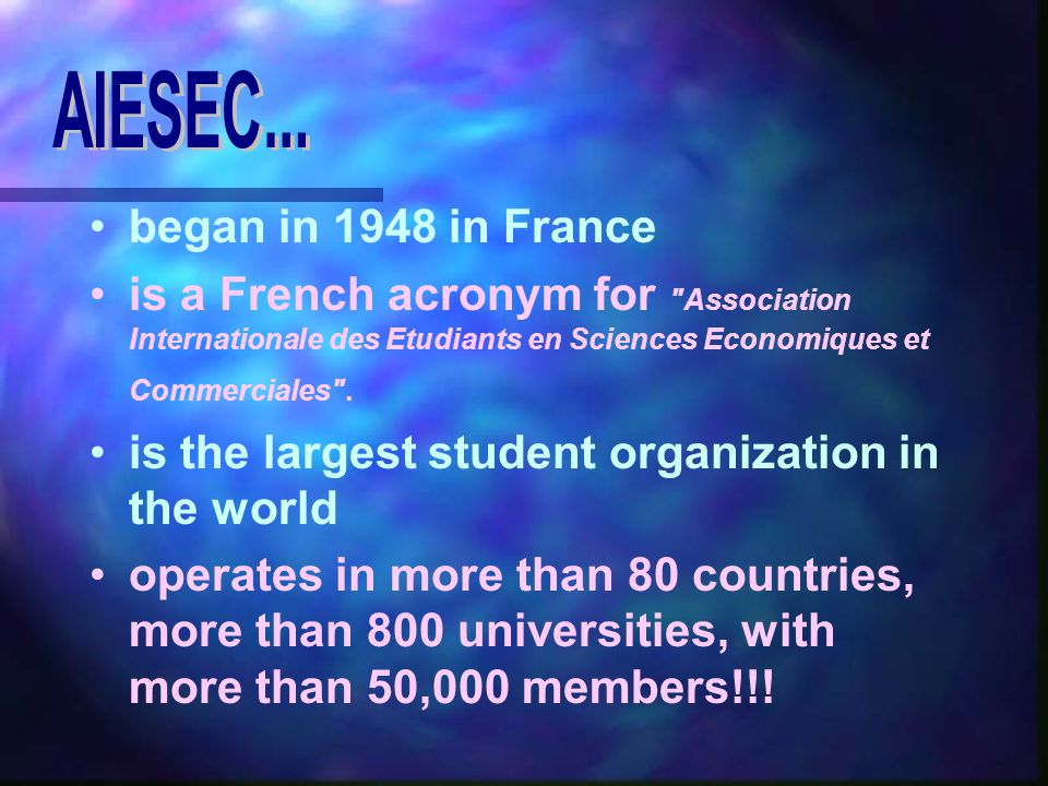 began in 1948 in France is a French acronym for