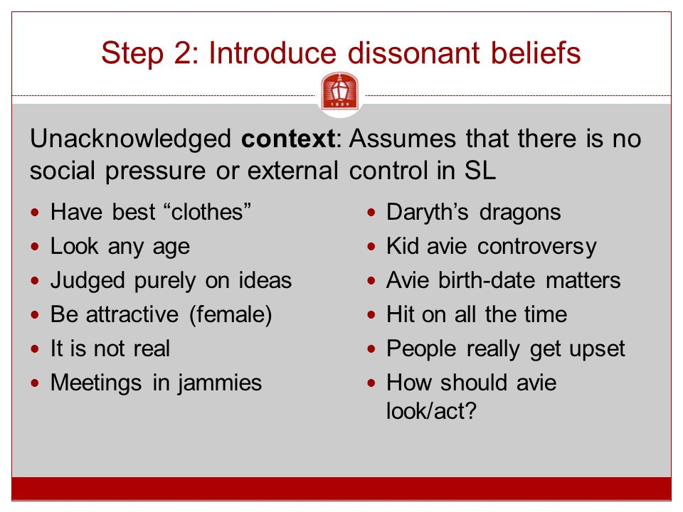 Step 2: Introduce dissonant beliefs Have best clothes Look any age Judged purely on ideas Be attractive (female) It is not real Meetings in jammies Daryth's dragons Kid avie controversy Avie birth-date matters Hit on all the time People really get upset How should avie look/act.