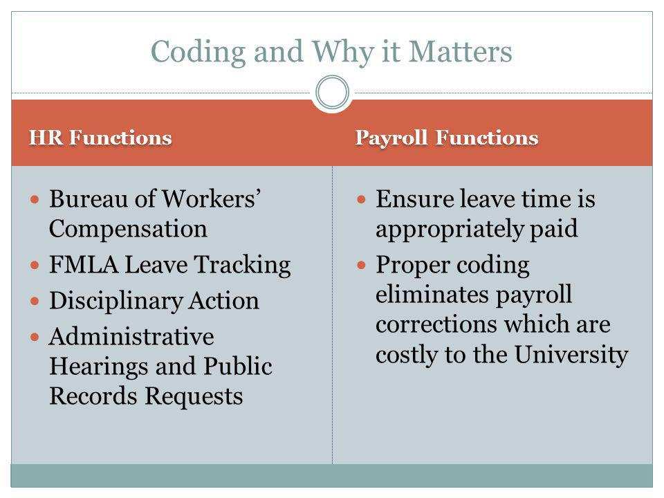 HR Functions Payroll Functions Bureau of Workers' Compensation FMLA Leave Tracking Disciplinary Action Administrative Hearings and Public Records Requests Ensure leave time is appropriately paid Proper coding eliminates payroll corrections which are costly to the University Coding and Why it Matters