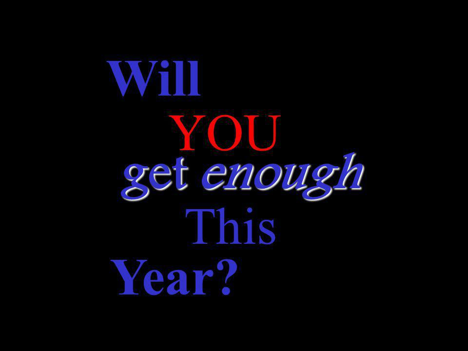 Will YOU get enough This Year