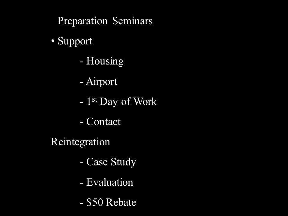 Preparation Seminars Support - Housing - Airport - 1 st Day of Work - Contact Reintegration - Case Study - Evaluation - $50 Rebate