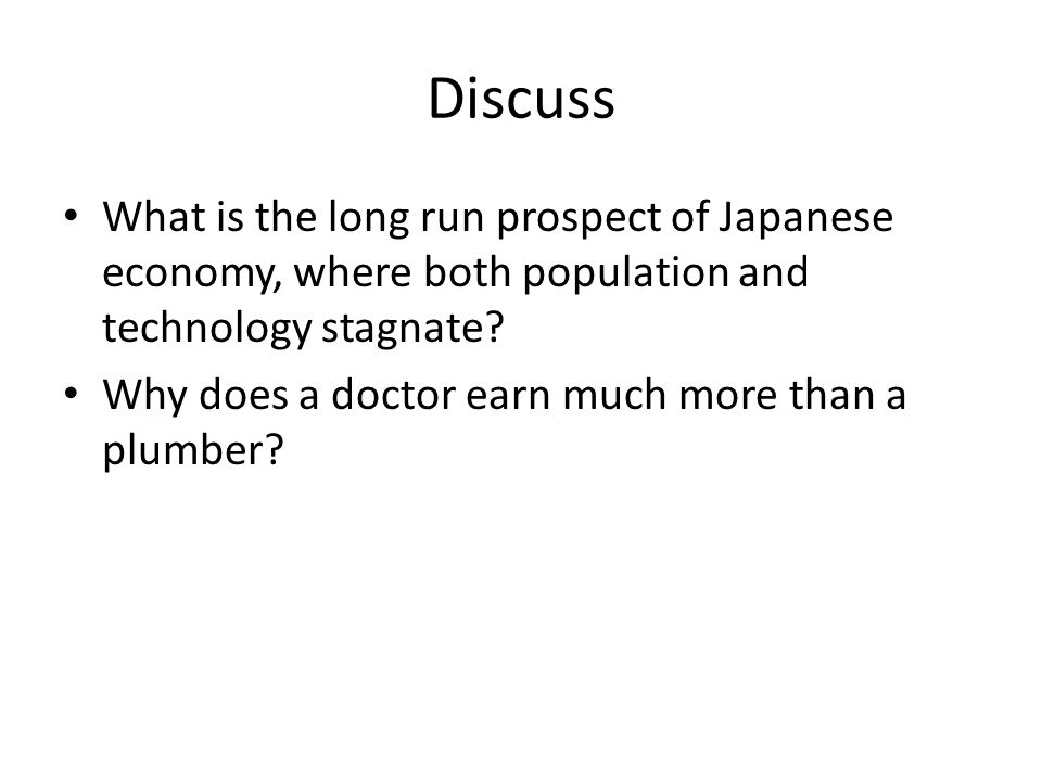 Discuss What is the long run prospect of Japanese economy, where both population and technology stagnate.