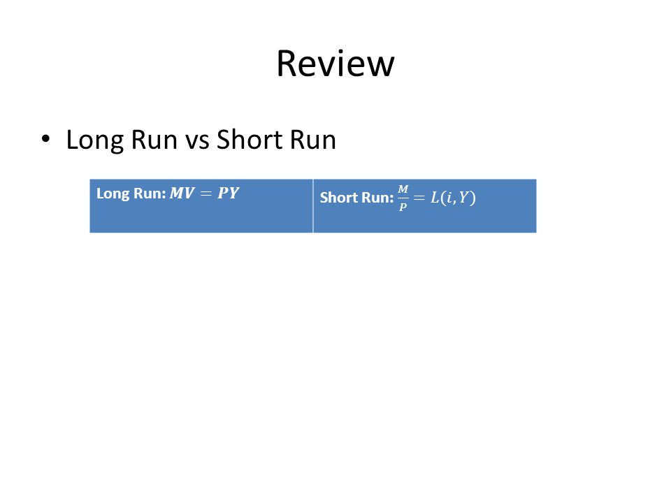 Review Long Run vs Short Run
