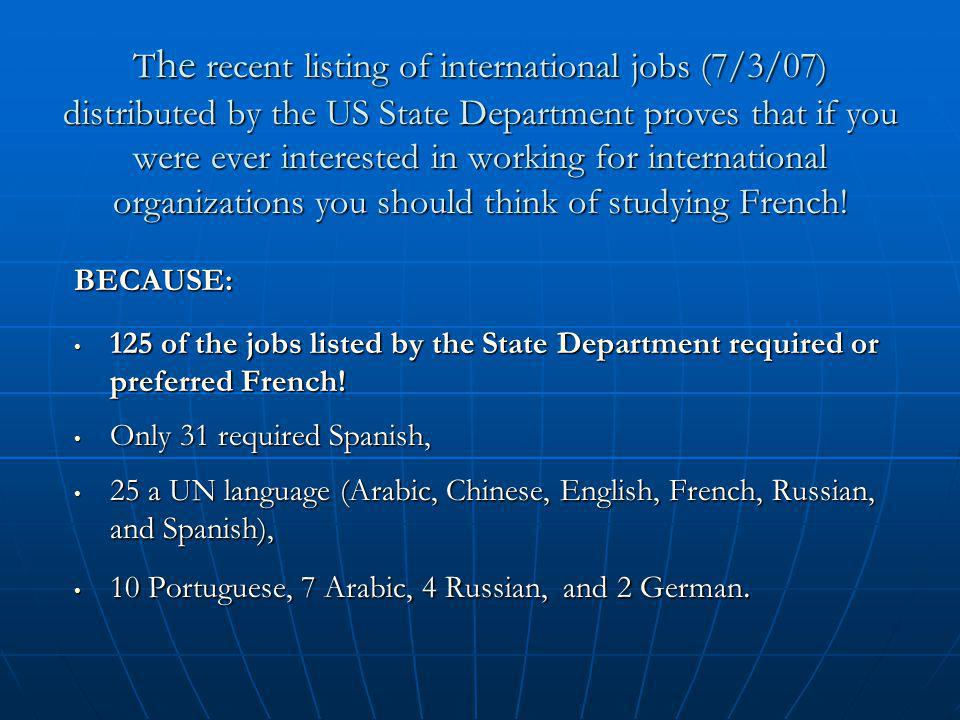 T he recent listing of international jobs (7/3/07) distributed by the US State Department proves that if you were ever interested in working for inter