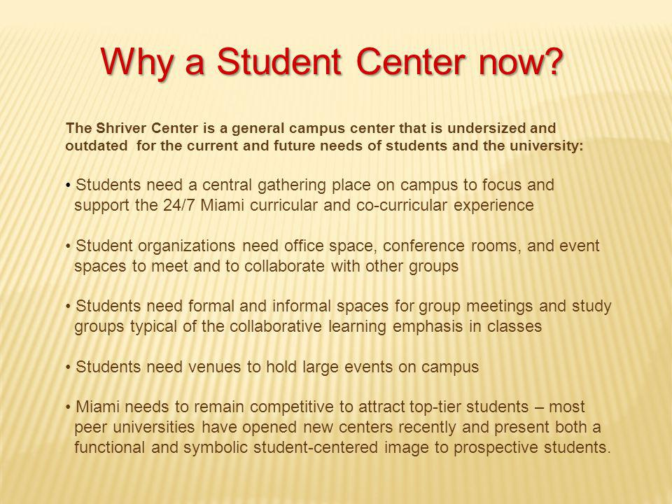 Why a Student Center now.