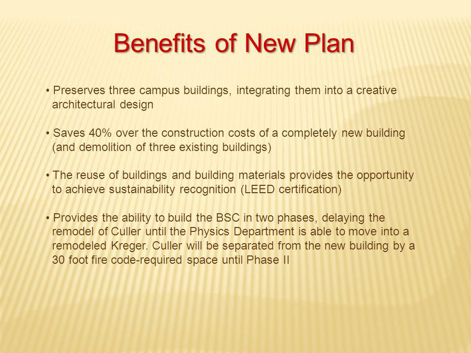 Benefits of New Plan Preserves three campus buildings, integrating them into a creative architectural design Saves 40% over the construction costs of a completely new building (and demolition of three existing buildings) The reuse of buildings and building materials provides the opportunity to achieve sustainability recognition (LEED certification) Provides the ability to build the BSC in two phases, delaying the remodel of Culler until the Physics Department is able to move into a remodeled Kreger.