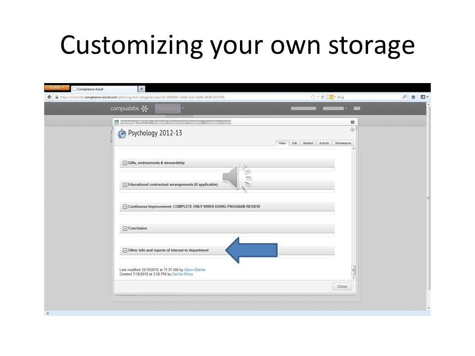 Customizing your own storage