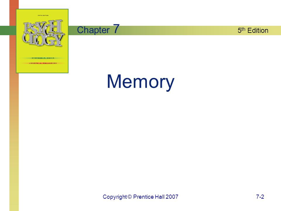 5 th Edition Copyright © Prentice Hall 20077-2 Memory Chapter 7