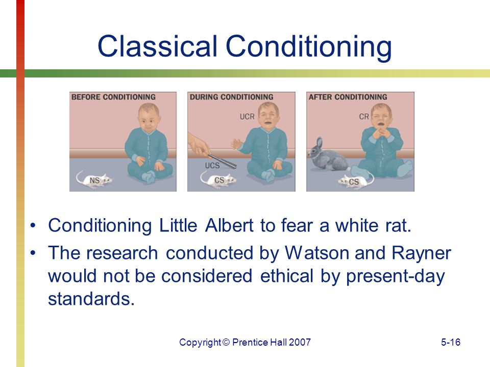 Copyright © Prentice Hall 20075-16 Classical Conditioning Conditioning Little Albert to fear a white rat. The research conducted by Watson and Rayner