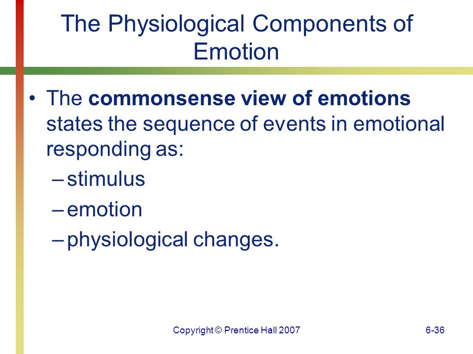 Copyright © Prentice Hall 20076-37 The Physiological Components of Emotion The James-Lange theory states that physiological changes precede and cause emotions.