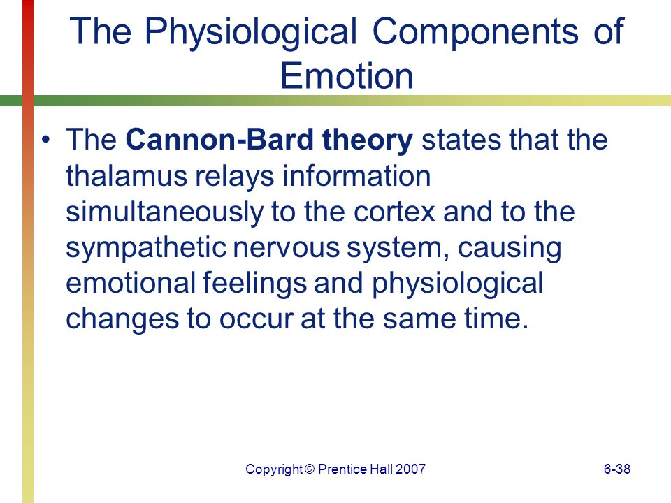 Copyright © Prentice Hall 20076-39 The Physiological Components of Emotion Establishing the physiological specificity of emotions does not require that every emotion have a unique physiological signature, only that some emotions differ from others in consistent ways.
