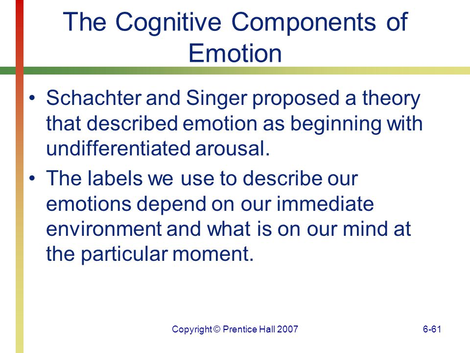 Copyright © Prentice Hall 20076-62 The Cognitive Components of Emotion Appraisal theories of emotion propose that how we make judgments about events leads to emotional reactions.