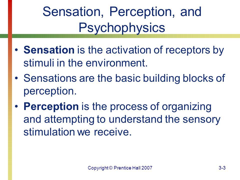 Copyright © Prentice Hall 20073-3 Sensation, Perception, and Psychophysics Sensation is the activation of receptors by stimuli in the environment. Sen