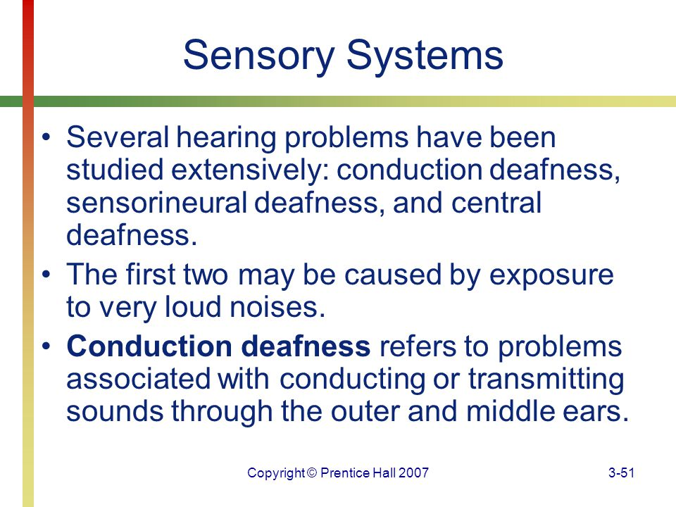 Copyright © Prentice Hall 20073-51 Sensory Systems Several hearing problems have been studied extensively: conduction deafness, sensorineural deafness