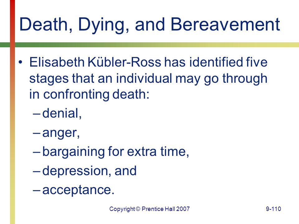 Copyright © Prentice Hall 20079-110 Death, Dying, and Bereavement Elisabeth Kübler-Ross has identified five stages that an individual may go through i