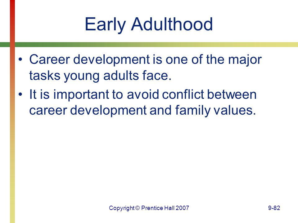 Copyright © Prentice Hall 20079-82 Early Adulthood Career development is one of the major tasks young adults face. It is important to avoid conflict b