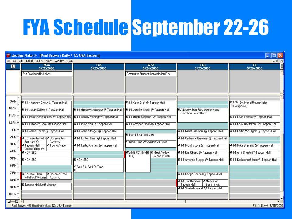 FYA Schedule September 22-26