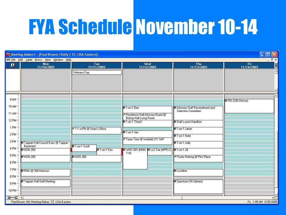 FYA Schedule November 10-14