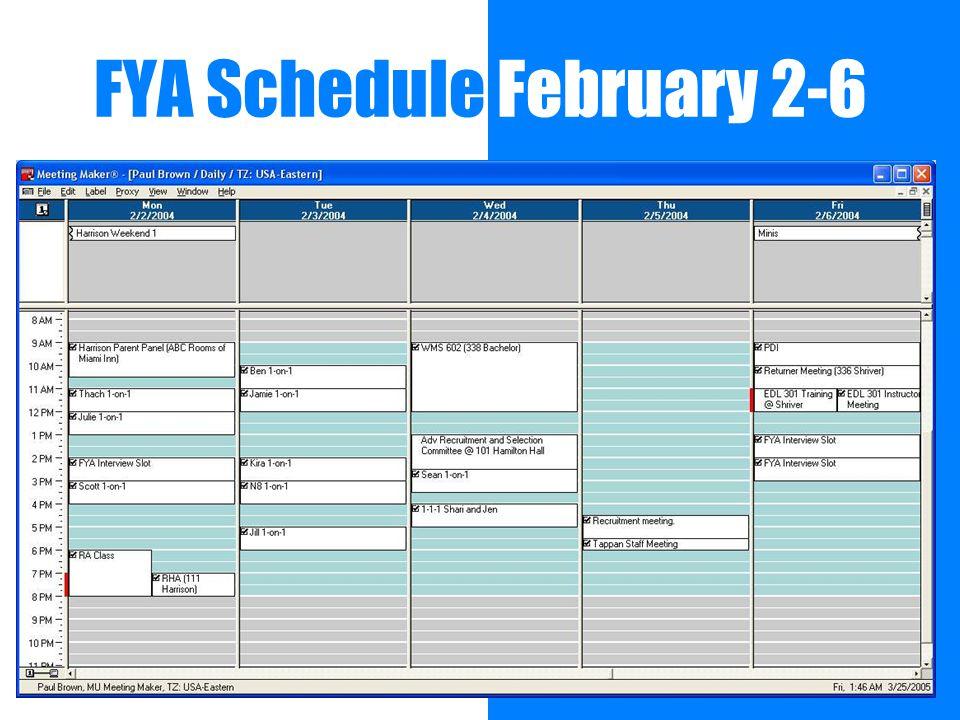 FYA Schedule February 2-6