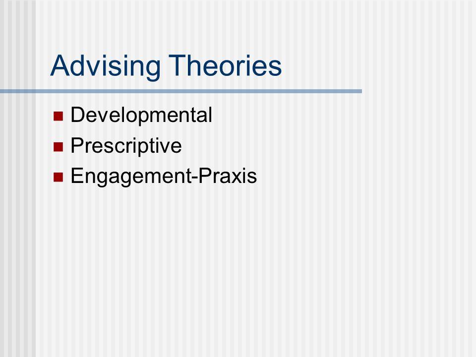 Advising Theories Developmental Prescriptive Engagement-Praxis
