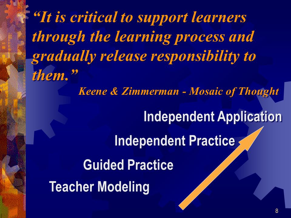 "8 ""It is critical to support learners through the learning process and gradually release responsibility to them."" Keene & Zimmerman - Mosaic of Though"