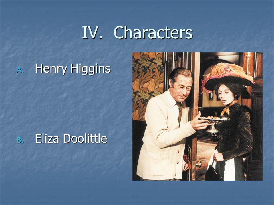 IV. Characters A. Henry Higgins B. Eliza Doolittle
