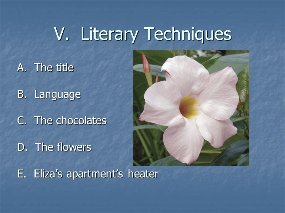 V. Literary Techniques A. The title B. Language C.