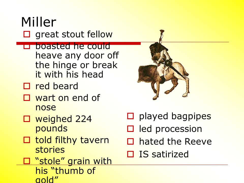 Miller  great stout fellow  boasted he could heave any door off the hinge or break it with his head  red beard  wart on end of nose  weighed 224
