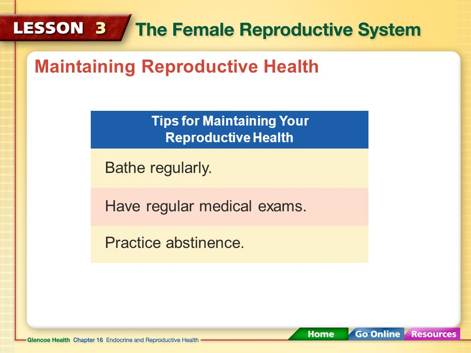 Maintaining Reproductive Health Practice abstinence.