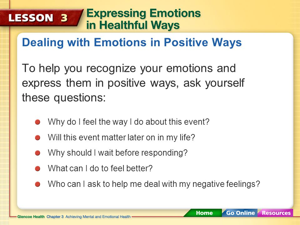 Dealing with Emotions in Positive Ways One example of expressing empathy is supporting a friend who is going through a difficult time. Empathy The abi