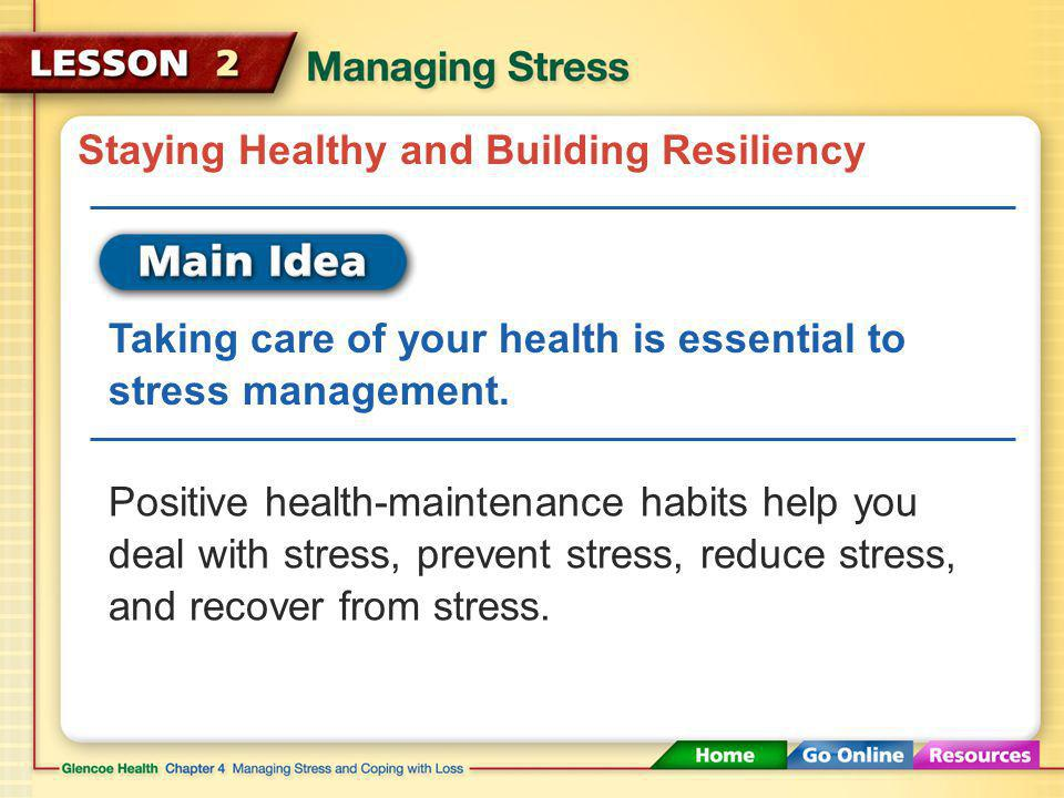 Handling Stress and Reducing Its Effects To lower the impact of stress on your health, try these tips: Practice relaxation techniques Redirect your energy Seek support Deep breathing, thinking pleasant thoughts, stretching, taking a warm bath, and even laughing can relieve your stress.