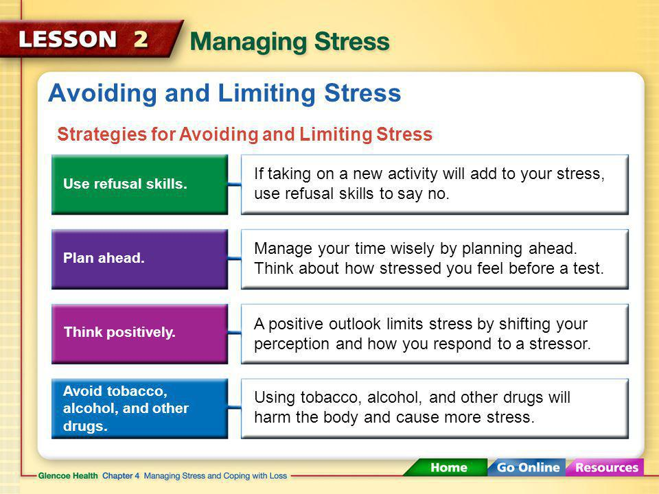 Avoiding and Limiting Stress Avoiding situations that cause stress is the easiest way to reduce its effects.