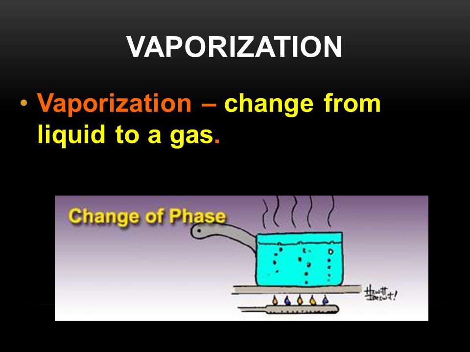 VAPORIZATION Vaporization – change from liquid to a gas.