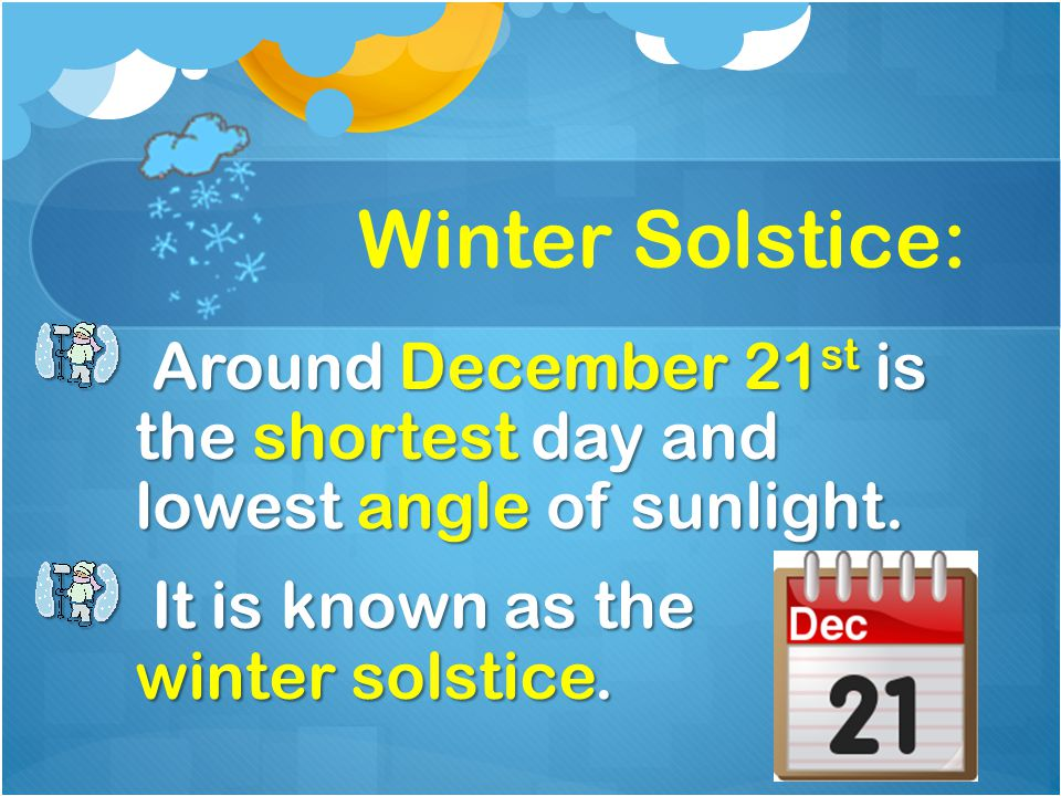 Winter Solstice: Around December 21 st is the shortest day and lowest angle of sunlight. Around December 21 st is the shortest day and lowest angle of