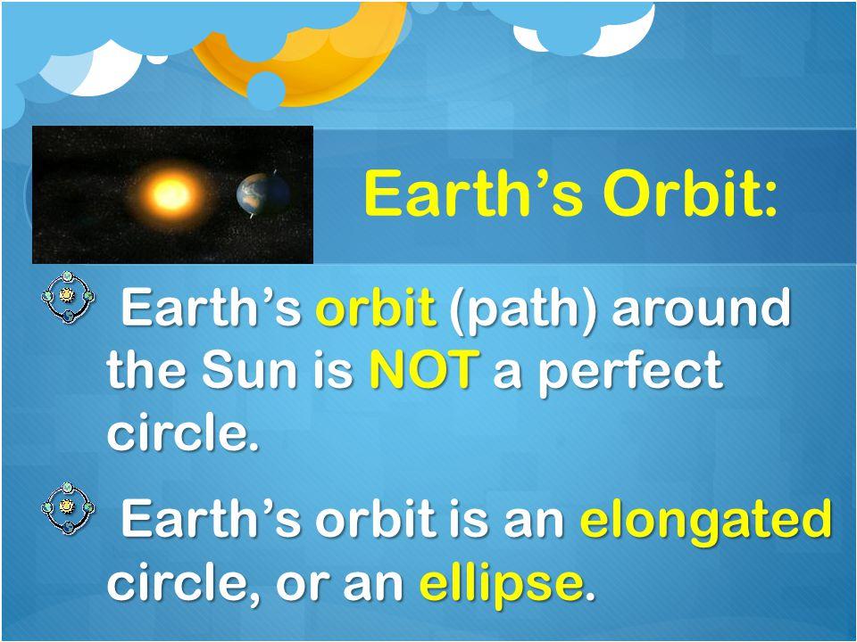 Earth's Orbit: Earth's orbit (path) around the Sun is NOT a perfect circle. Earth's orbit (path) around the Sun is NOT a perfect circle. Earth's orbit