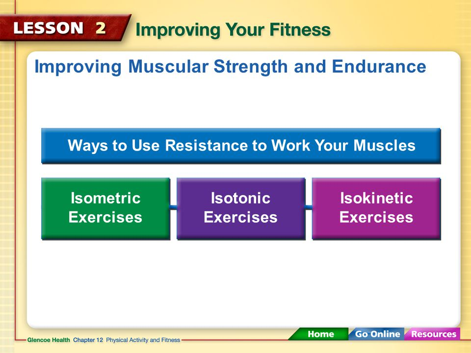Improving Muscular Strength and Endurance Anaerobic exercises improve muscular strength and endurance. Exercises like lifting weights strengthen the m