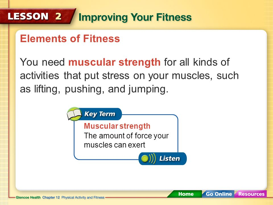 After You Read Reviewing Facts and Vocabulary Cardiorespiratory endurance, muscular strength, muscular endurance, flexibility, body composition 1.What are the five elements of fitness?