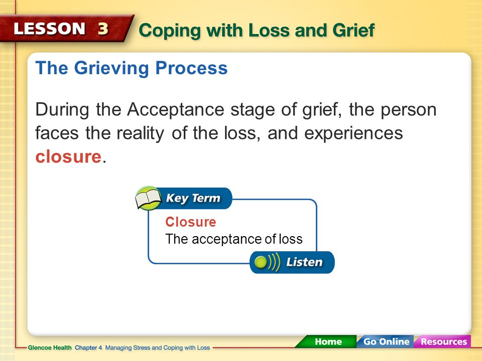 The Grieving Process During the Depression stage of grief, there are feelings of sadness.
