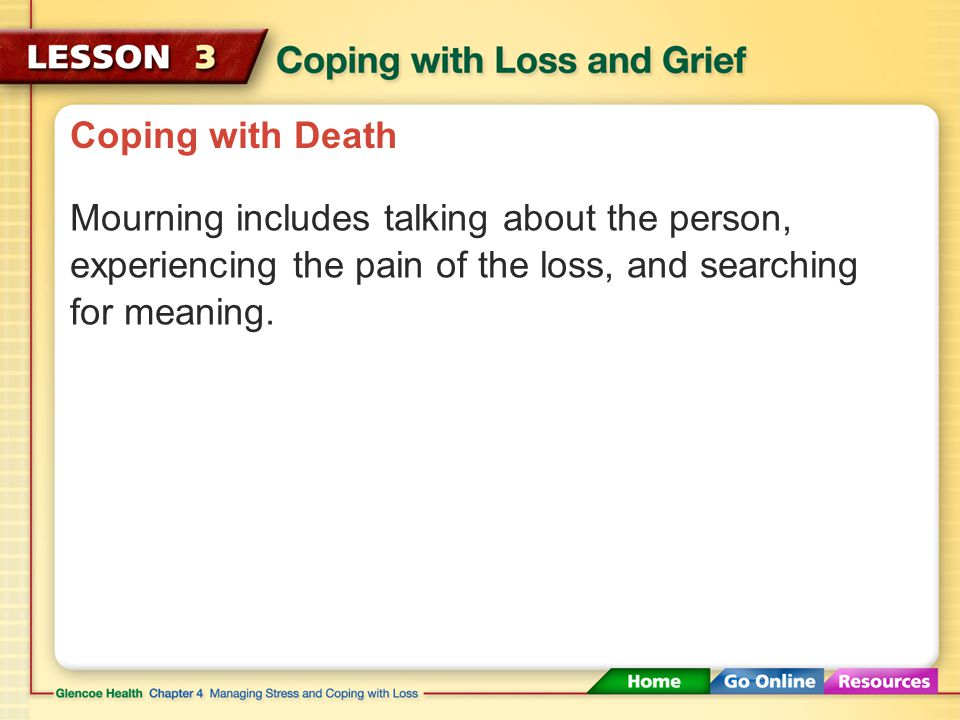 Coping with Death Most people respond to loss by mourning. Mourning The act of showing sorrow or grief
