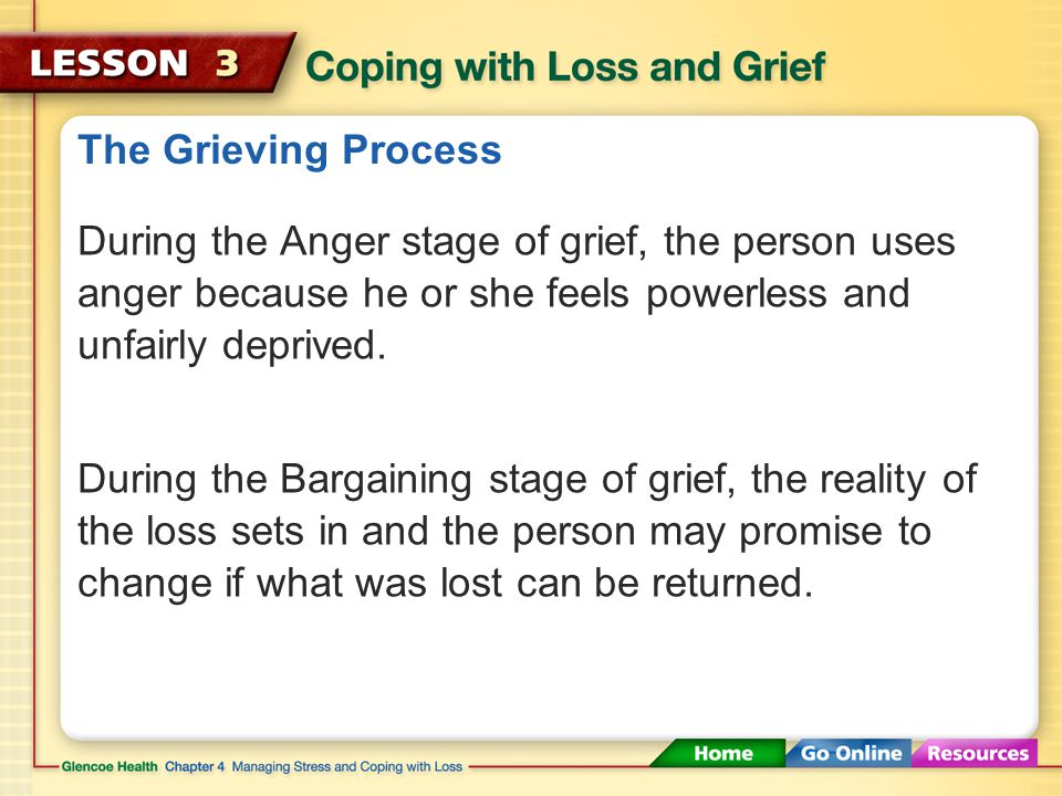 The Grieving Process During the Denial or Numbness stage of grief, it may be difficult to believe the loss has occurred. During the Emotional Release