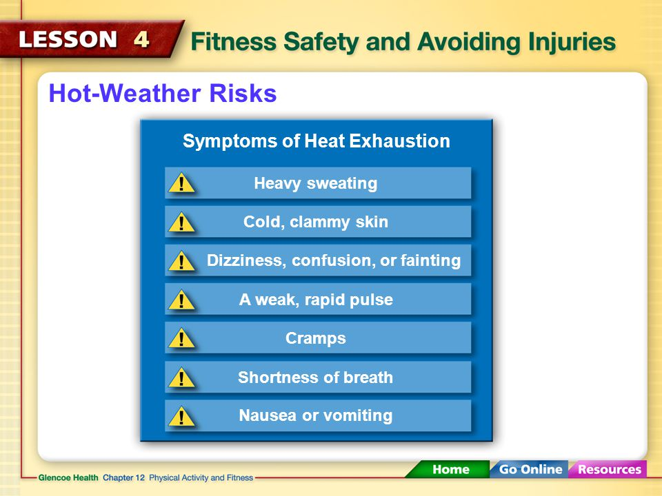 Hot-Weather Risks Overexertion can cause heat exhaustion. Heat exhaustion A form of physical stress on the body caused by overheating
