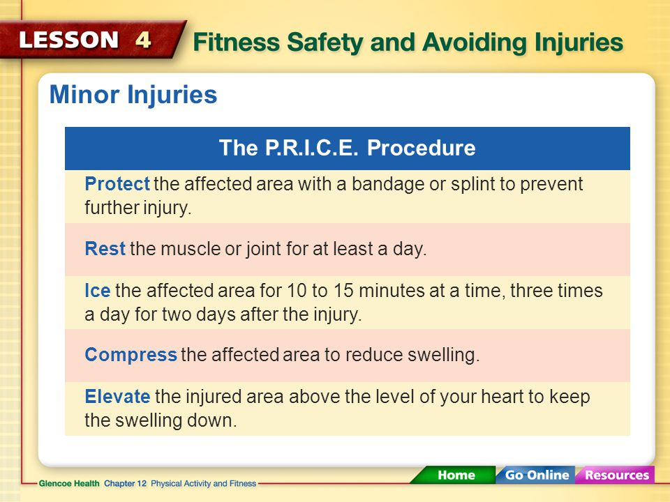Minor Injuries Use the P.R.I.C.E. procedure to treat strains and minor sprains. P.R.I.C.E. stands for Protection, Rest, Ice, Compression, and Elevatio