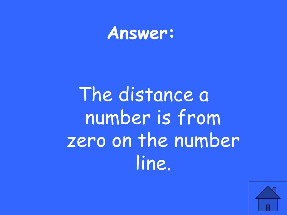 Answer: The distance a number is from zero on the number line.