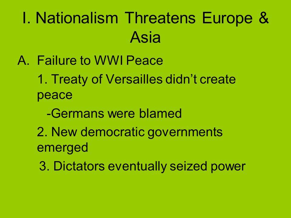 I. Nationalism Threatens Europe & Asia A.Failure to WWI Peace 1.