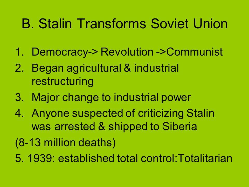 B. Stalin Transforms Soviet Union 1.Democracy-> Revolution ->Communist 2.Began agricultural & industrial restructuring 3.Major change to industrial po