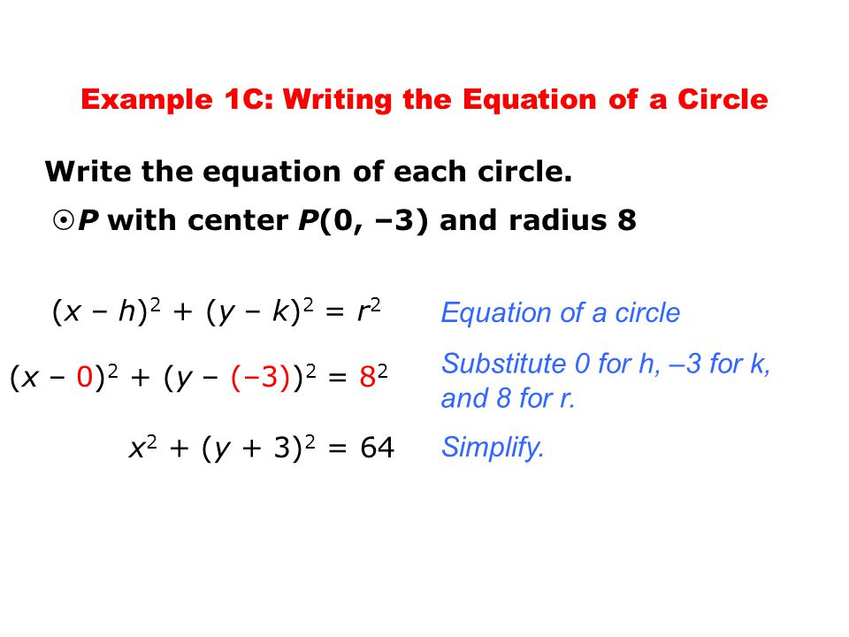 If you are given the equation of a circle, you can graph the circle by identifying its center and radius.