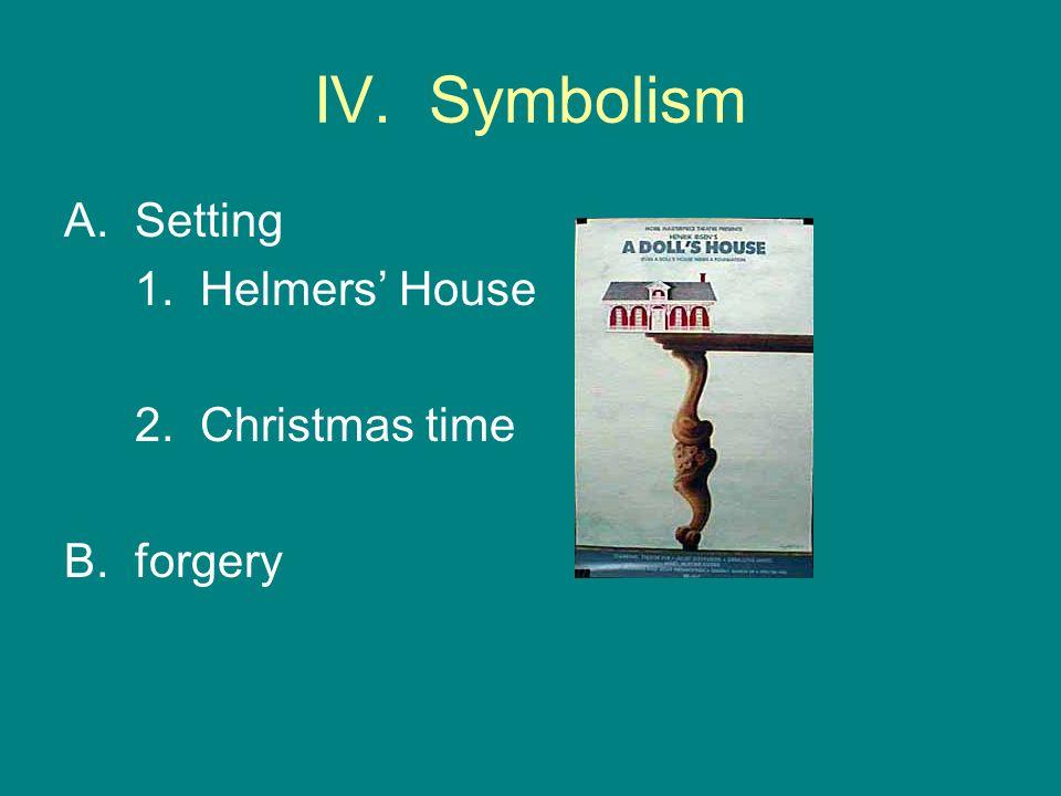 IV. Symbolism A.Setting 1. Helmers' House 2. Christmas time B. forgery
