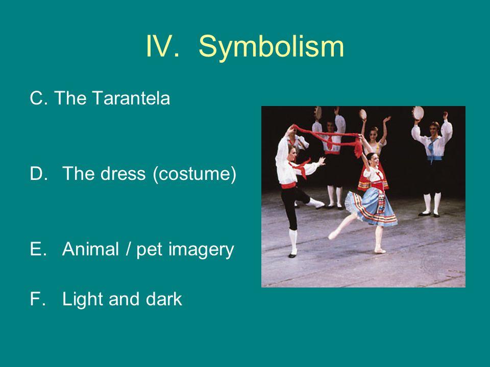 IV. Symbolism C. The Tarantela D.The dress (costume) E.Animal / pet imagery F.Light and dark