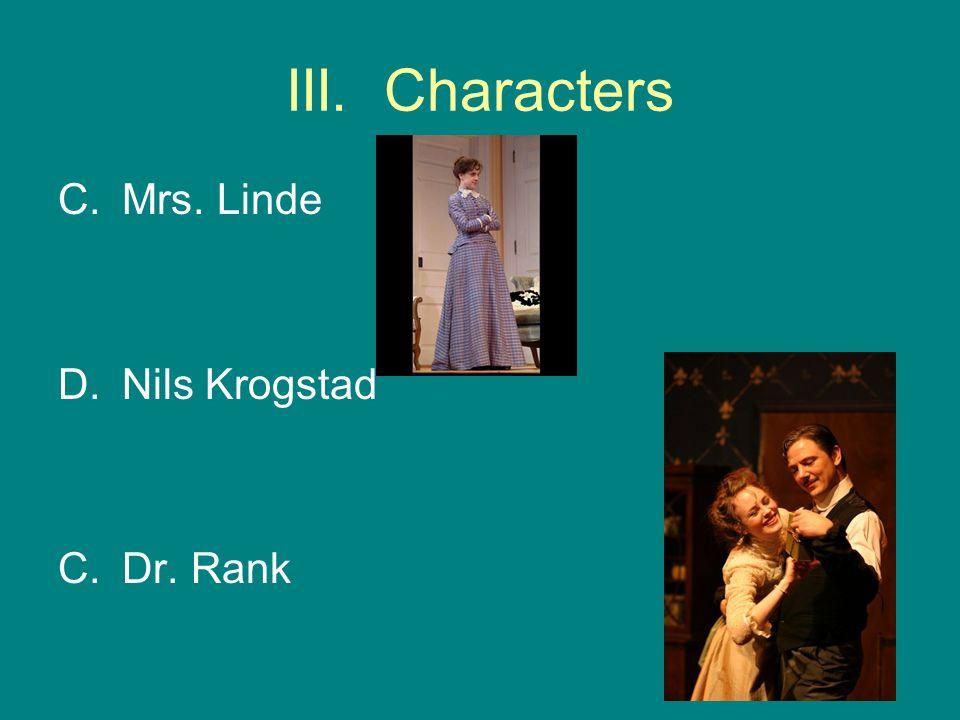 III. Characters C.Mrs. Linde D.Nils Krogstad C.Dr. Rank